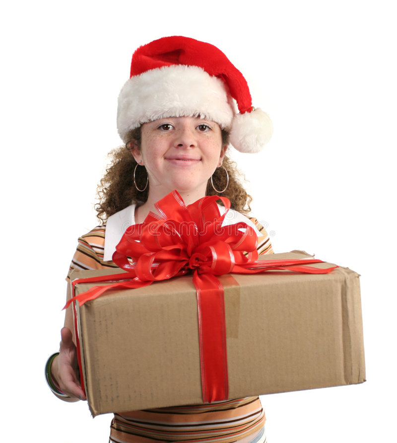 Happy Girl With Gift royalty free stock photo