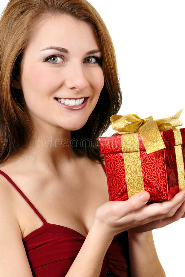 Download Happy girl with gift box stock image. Image of gorgeous - 18592527