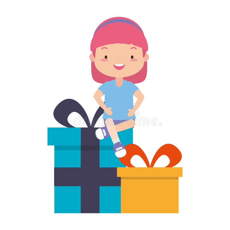 Happy girl with gifts vector illustration