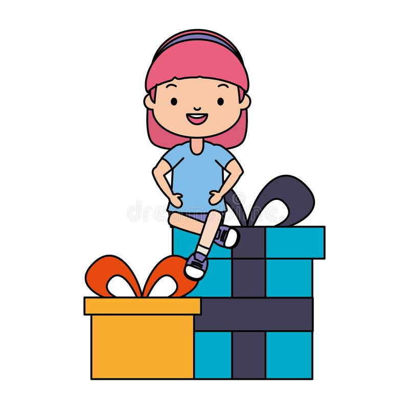 Happy girl with gifts stock illustration