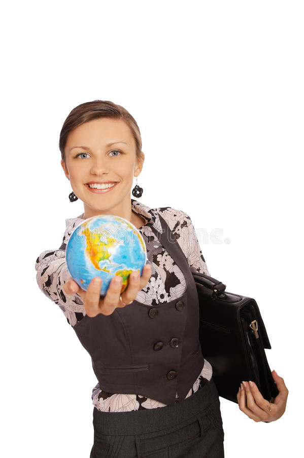 Happy girl with globe royalty free stock image