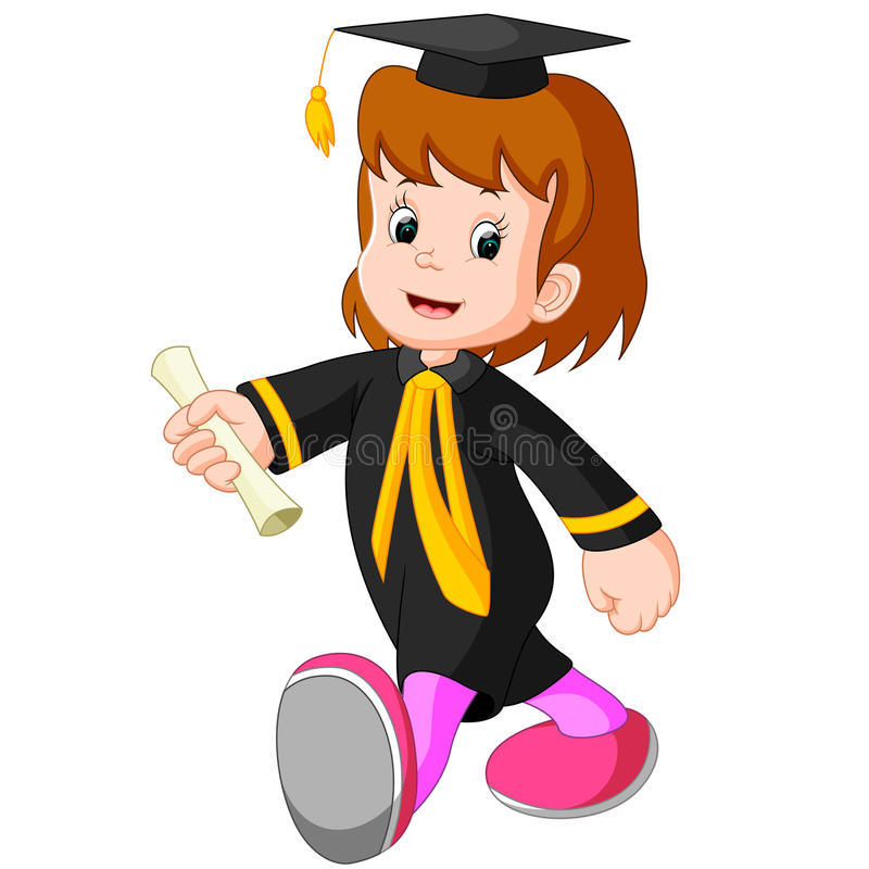 Happy girl after graduation royalty free illustration