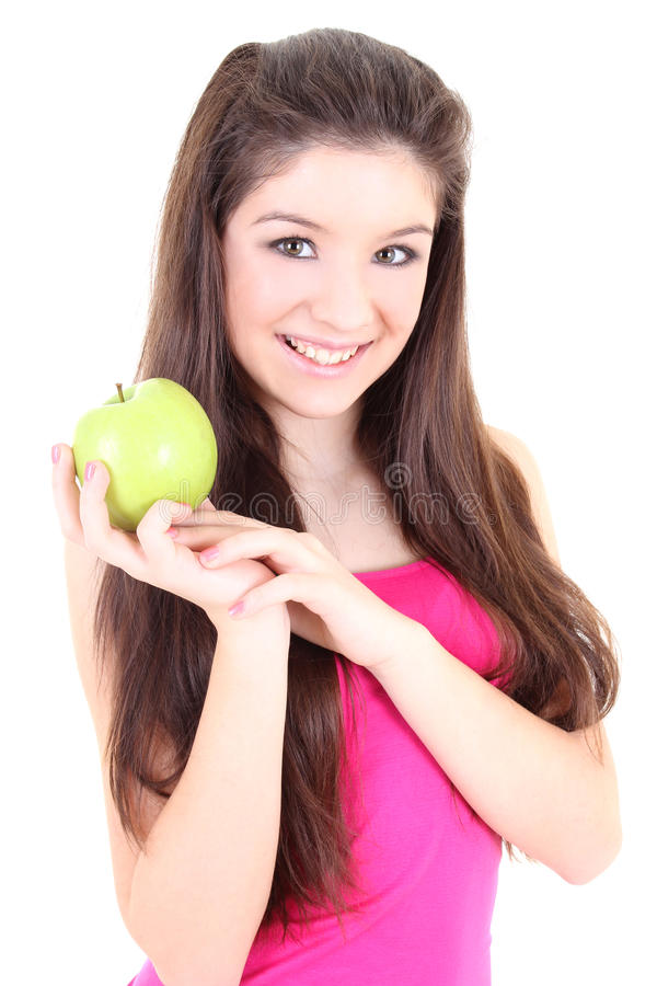 Download Happy Girl With Green Apple Stock Photo - Image: 24495192