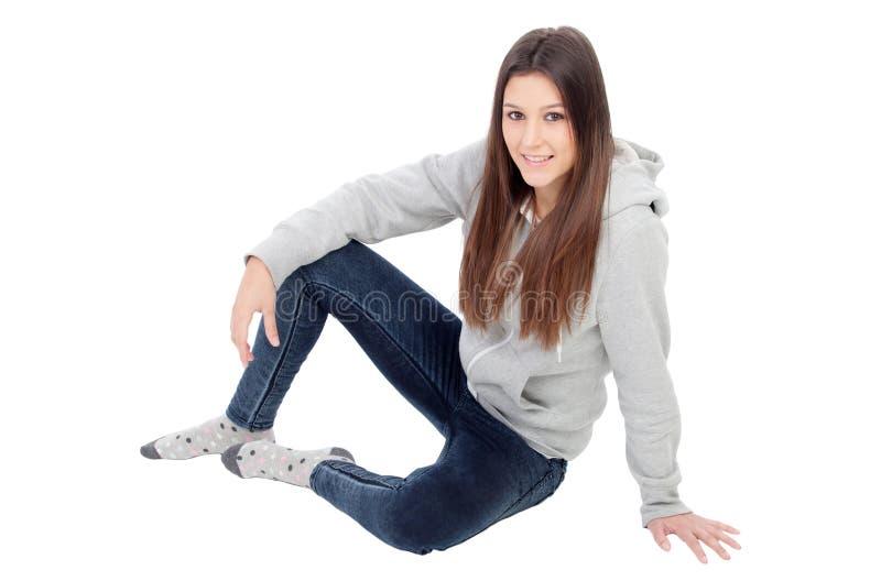 Happy girl with grey sweatshirt royalty free stock image