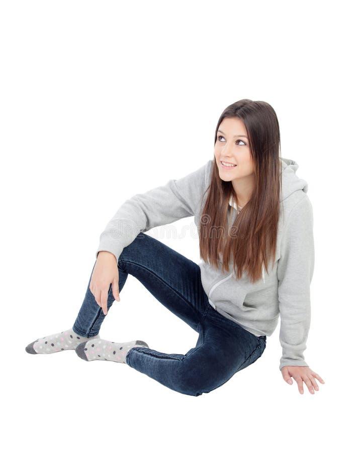 Happy girl with grey sweatshirt stock photography