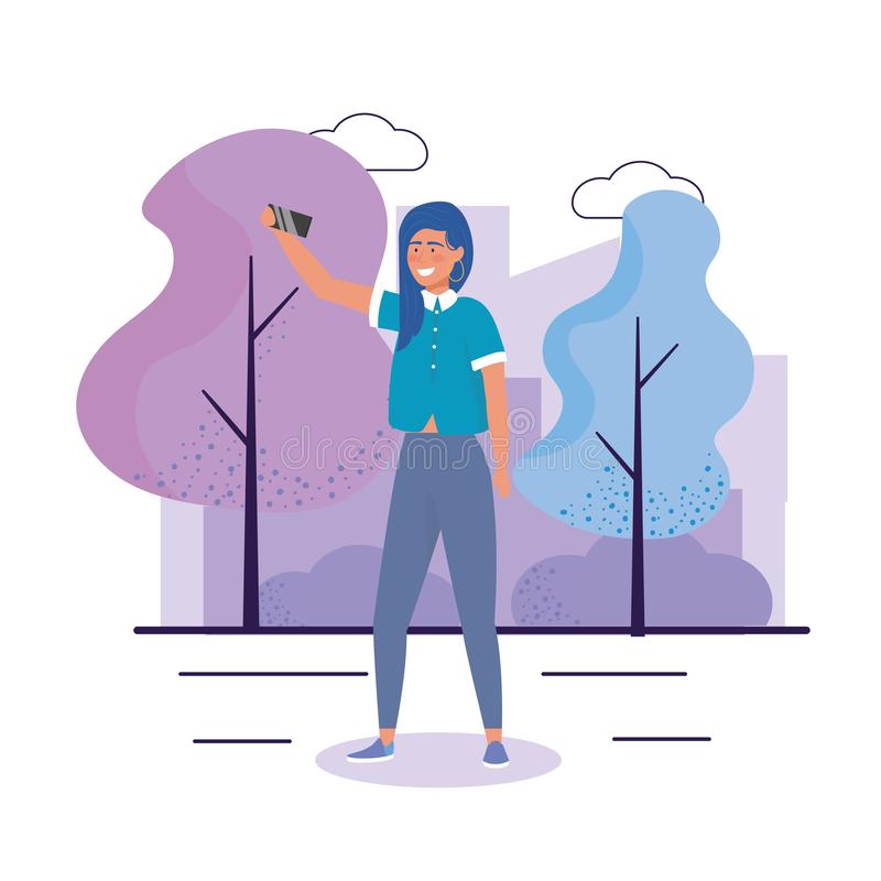 Happy girl with hairstyle and smartphone selfie. To youth day vector illustration stock illustration