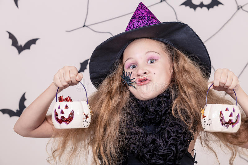 Happy girl on Halloween party. Happy teen girl on Halloween party royalty free stock photography