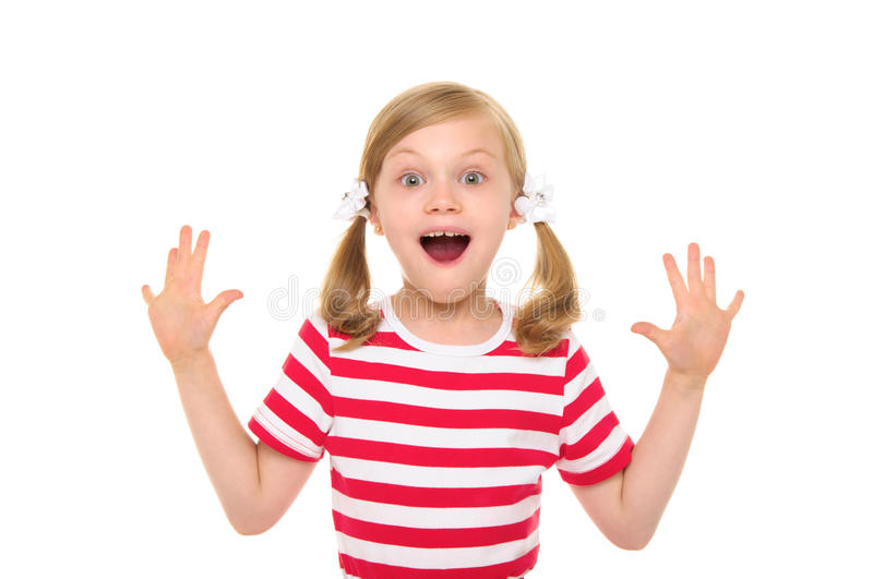 Happy girl with hands up royalty free stock photography