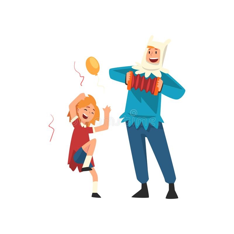 Happy Girl Having Fun with Animator at Birthday Party, Entertainer in Festive Costume Playing Accordion Vector. Illustration on White Background vector illustration