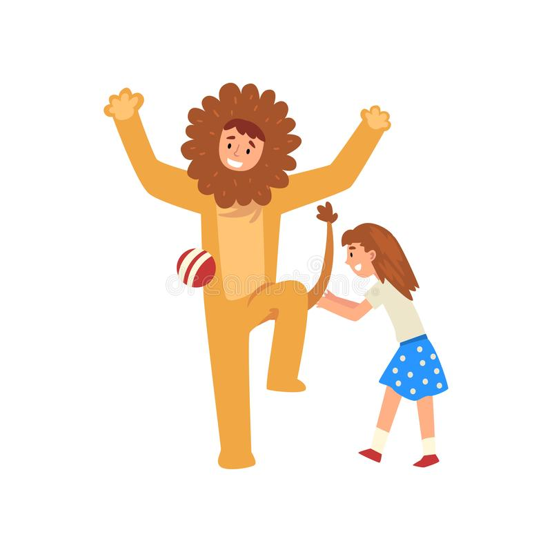 Happy Girl Having Fun with Animator in Lion Costume at Birthday Party, Entertainer in Festive Costume Performing Before. Kid Vector Illustration on White stock illustration