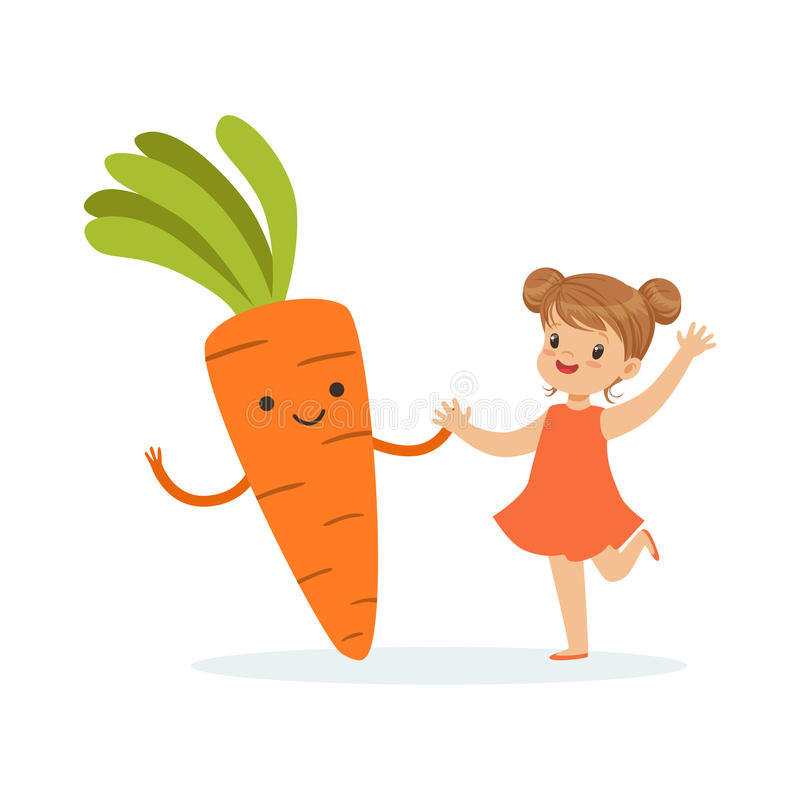Happy girl having fun with fresh smiling carrot vegetable, healthy food for kids colorful characters vector Illustration. On a white background stock illustration