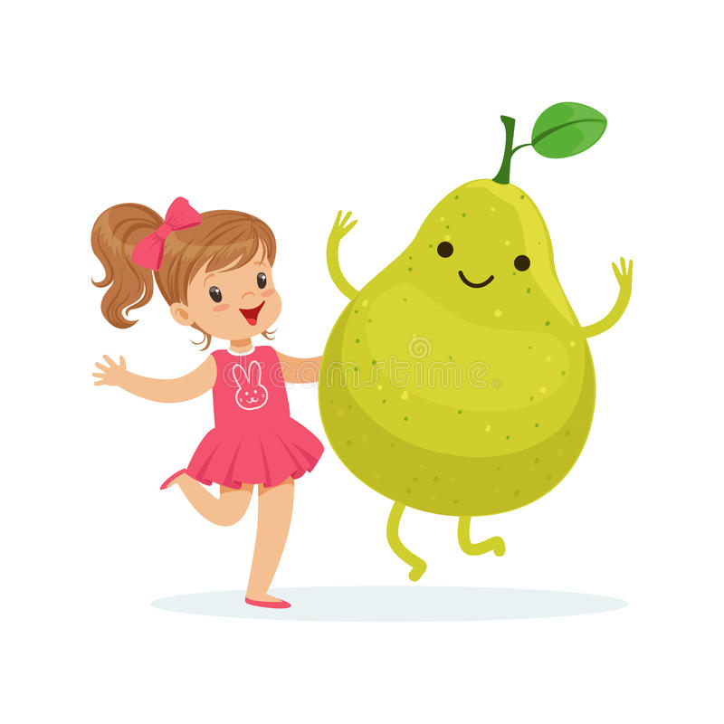 Happy girl having fun with fresh smiling pear fruit, healthy food for kids colorful characters vector Illustration. On a white background royalty free illustration