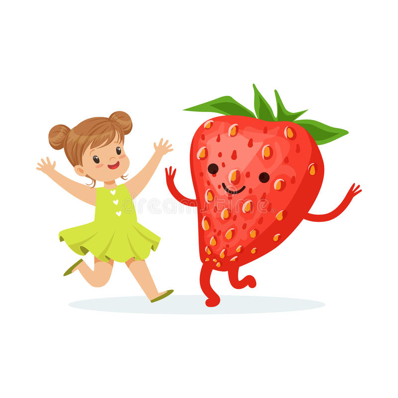 Happy girl having fun with fresh smiling strawberry, healthy food for kids colorful characters vector Illustration. On a white background stock illustration
