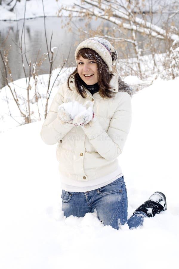Happy girl having fun outdoor stock images