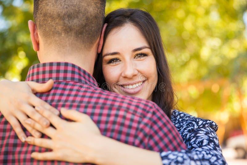 Happy girl with her boyfriend stock photos