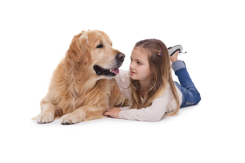 Happy girl with her pet dog. On a white background stock photos
