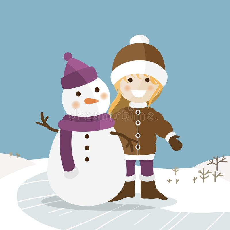 Happy girl with her snowman on a sunny winter day. Vector illustration royalty free illustration