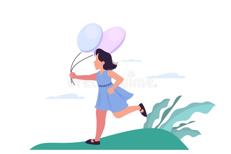Happy girl holding balloon and running. Little cute child stock illustration