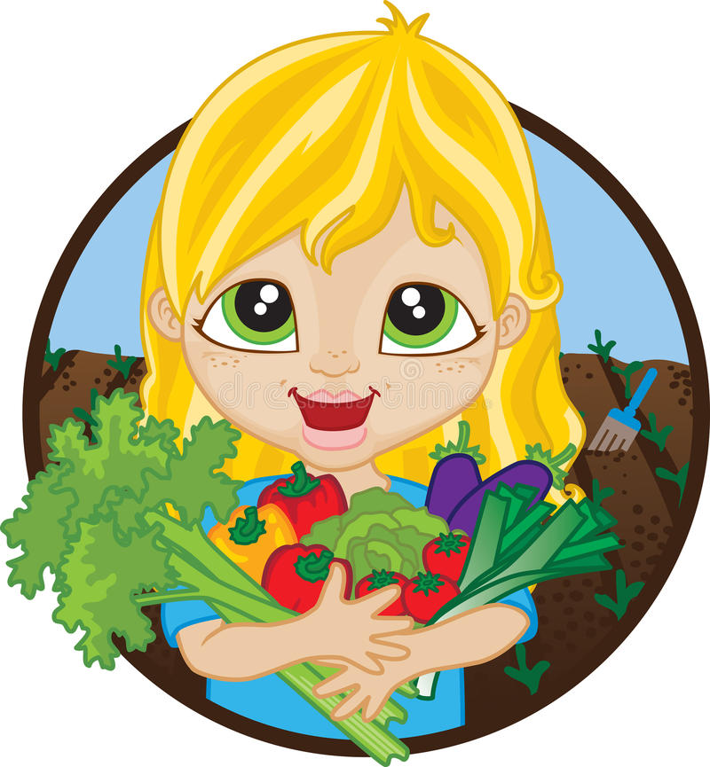 Happy girl holding home grown vegetables. Happy blonde caucasian girl holding a bunch of home grown organic vegetables picked from her garden stock illustration