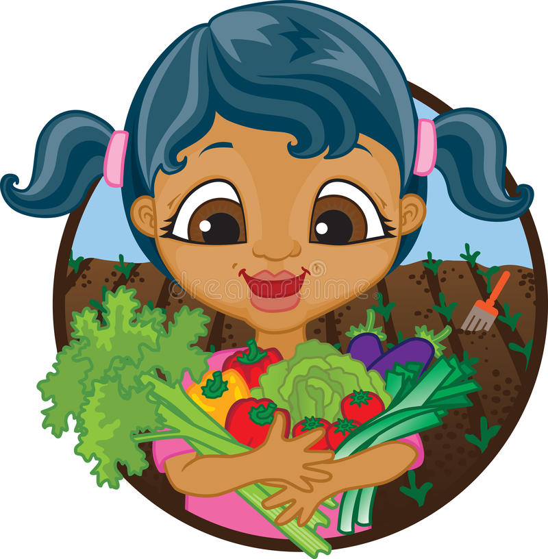 Happy girl holding home grown vegetables. Happy mixed race girl holding a bunch of home grown organic vegetables picked from her garden stock illustration