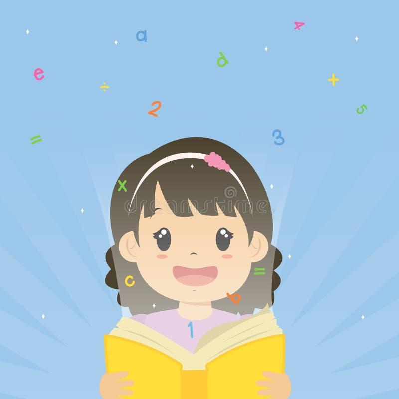 Happy Girl Holding an Open Book Cartoon Vector vector illustration