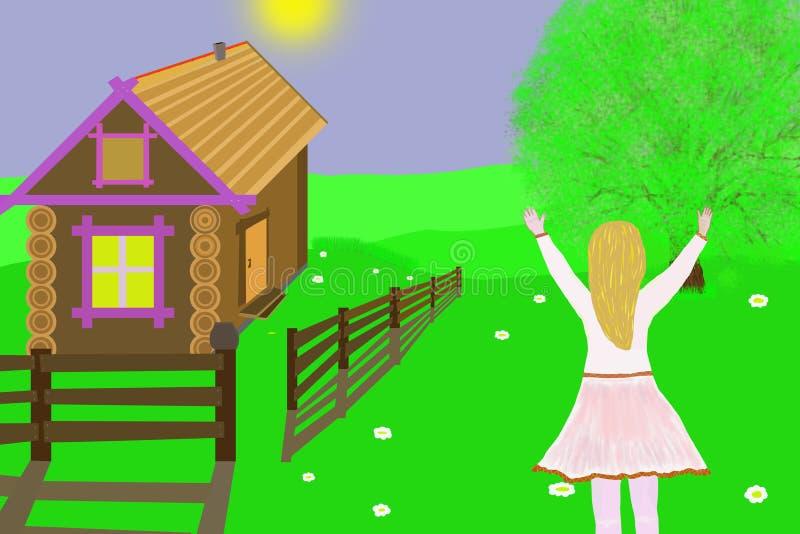 Happy girl.Illustration. stock photography