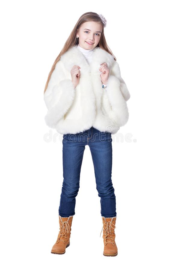 Free Happy Girl In Fur Coat Posing Isolated On White Background Stock Image - 146304951