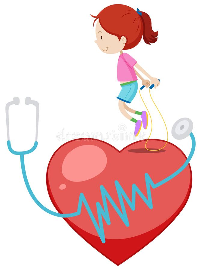 Happy girl jumprope on the big red heart stock illustration