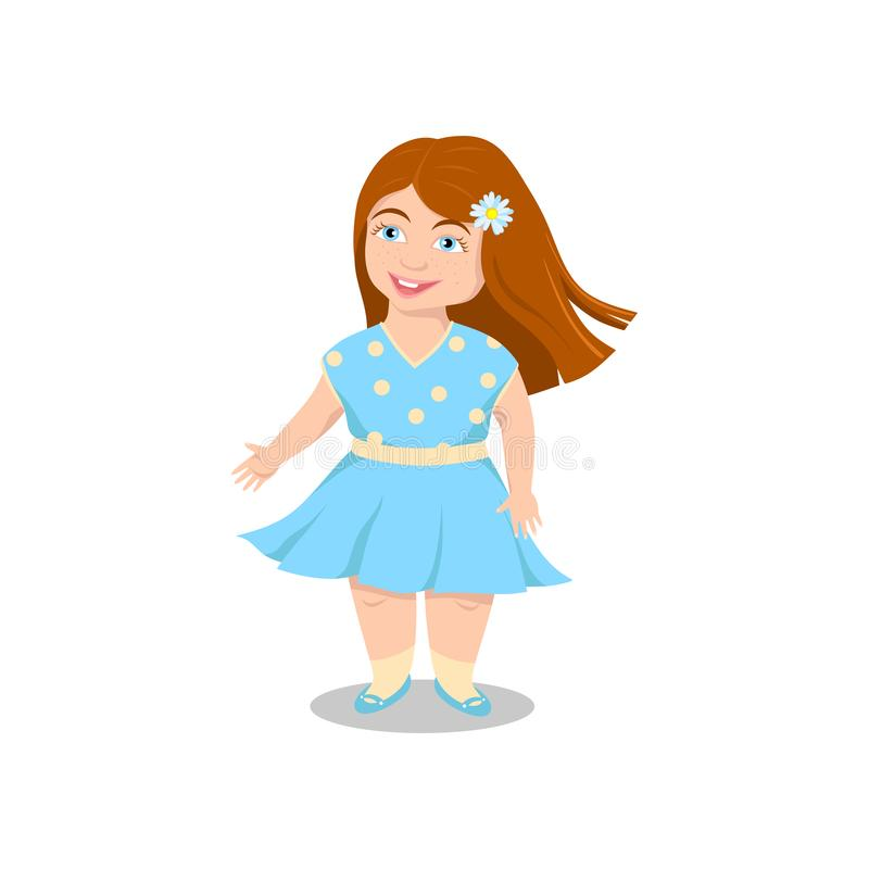 Happy girl laughing, smiling in summer dress vector illustration
