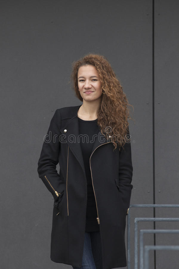 Download Young fashion girl stock image. Image of student, coat - 35209349