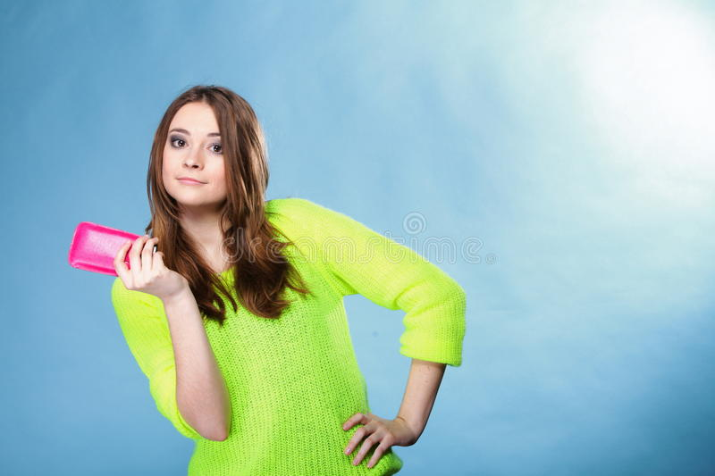 Download Happy Girl With Mobile Phone In Pink Cover Stock Image - Image: 34434011