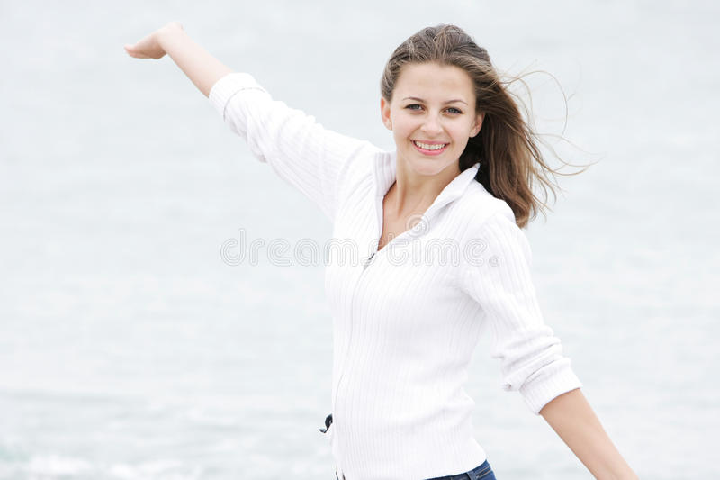 Happy girl on natural background royalty free stock photography