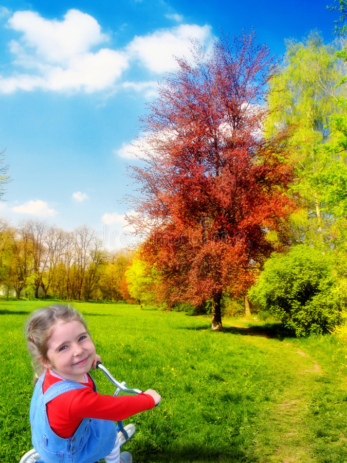 Happy girl in nature stock photos
