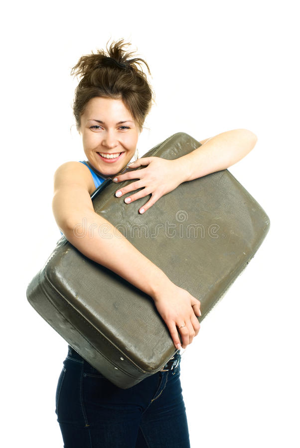 Download Happy Girl With An Old Suitcase Stock Photo - Image: 9533002