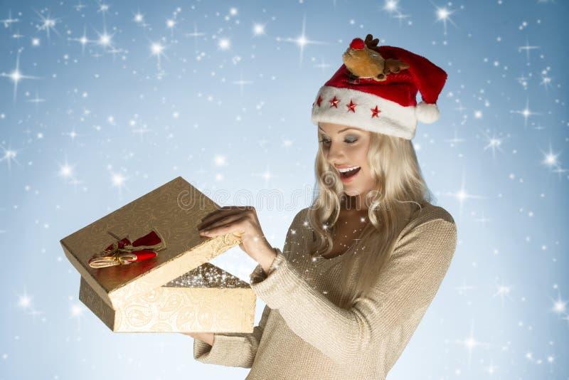 Happy Girl Open Christmas Present Stock Image - Image ...