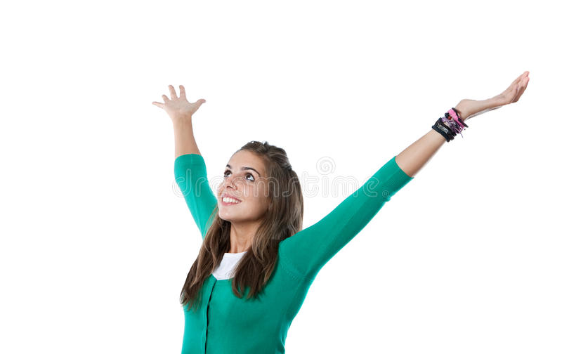 Happy girl opening the arms. Isolated on a over white background royalty free stock image