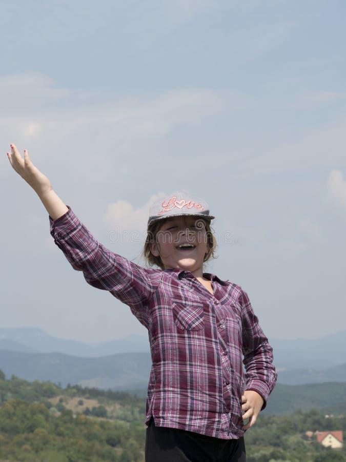 Happy girl outdoors royalty free stock photo