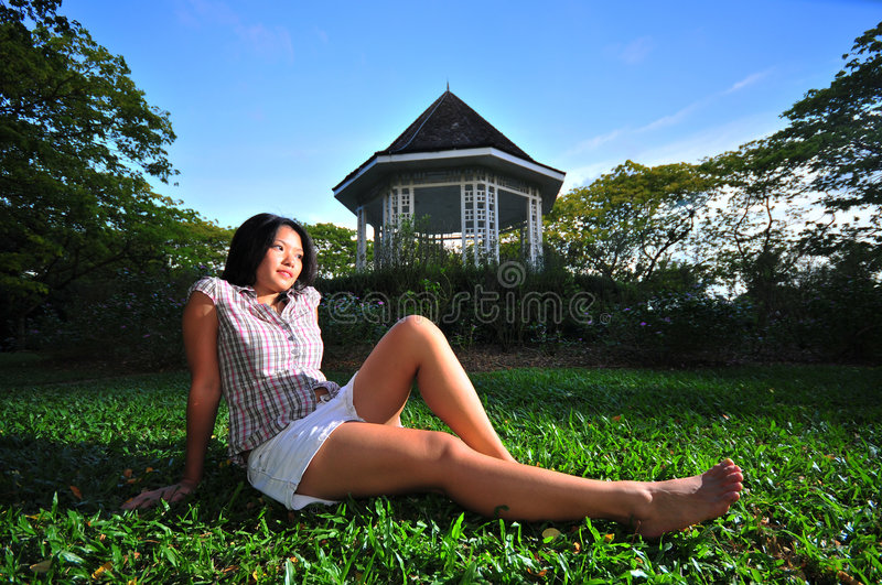 Happy Girl in the Park 15 stock photography