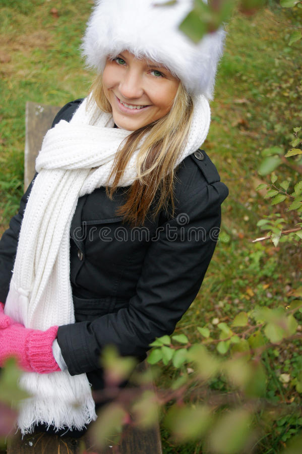 Download Happy girl in park stock photo. Image of color, season - 21791064