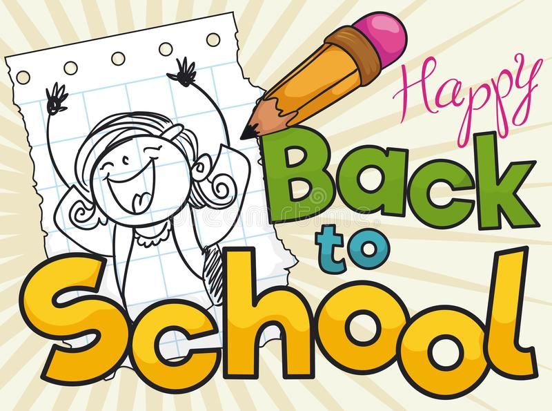 Happy Girl and Pencil in a Drawing for School Season, Vector Illustration stock illustration