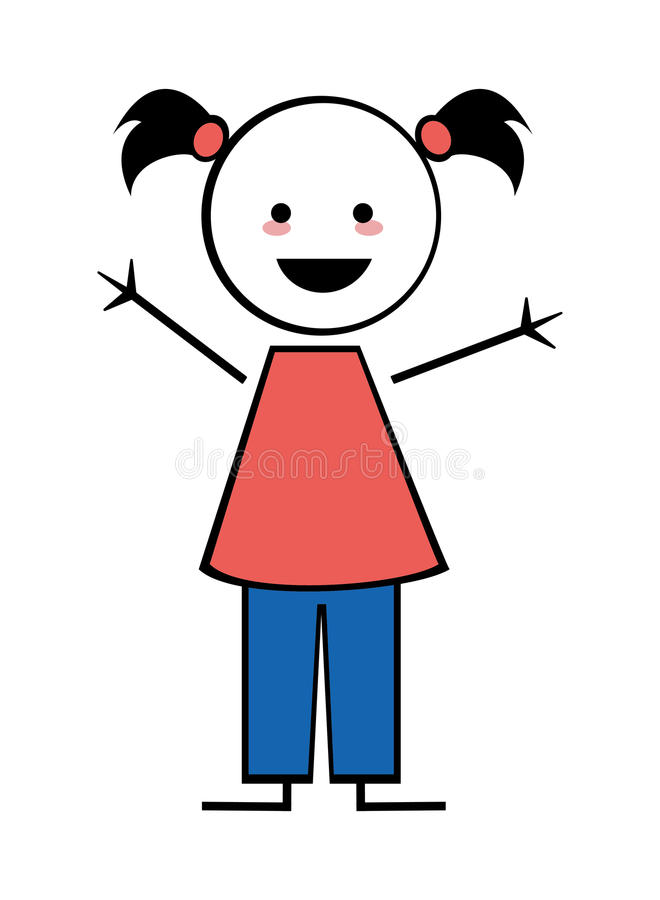happy girl with pigtails icon stick figure stock illustration