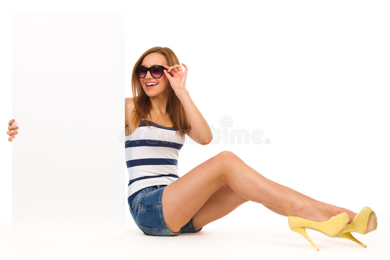 Happy Girl With Placard. Stock Images