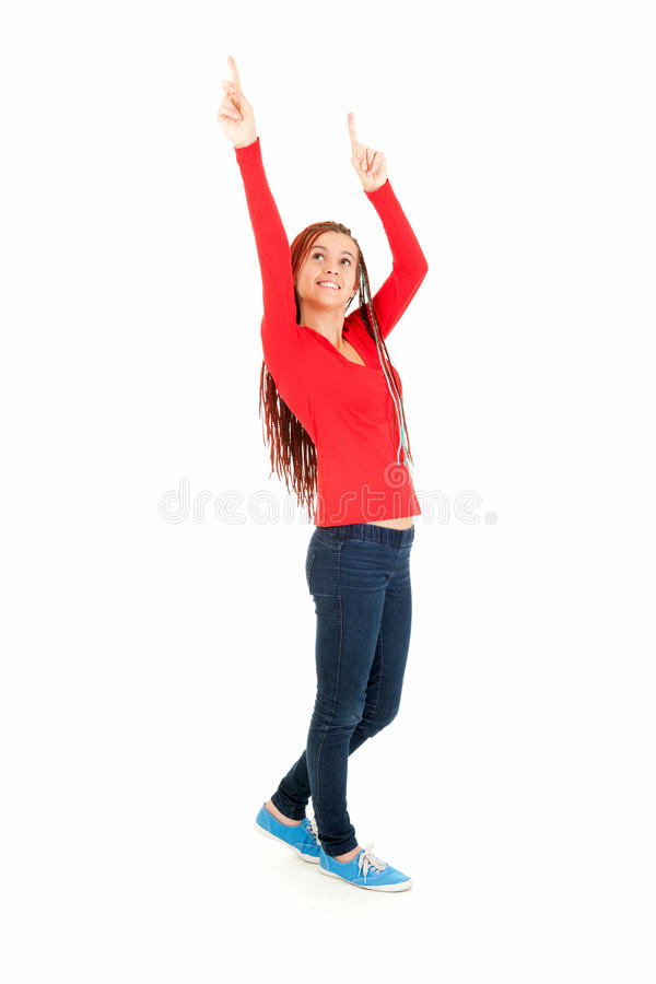 Download Happy Girl With Plait Braids Pointing Up Royalty Free Stock Image - Image: 26433886