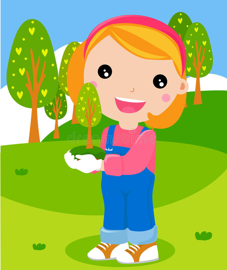 Happy Girl Is Planting Small Plant Cartoon Royalty Free Stock Image