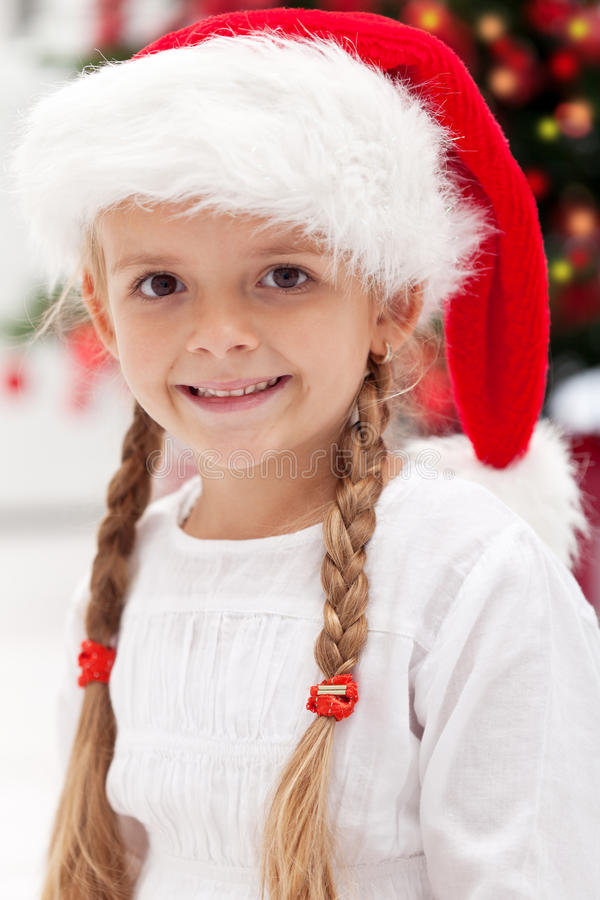 Happy Girl Portrait At Christmas Time Royalty Free Stock Image