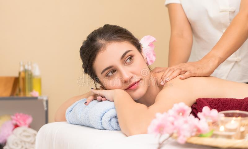 Happy girl portrait in Thai spa bed royalty free stock photo