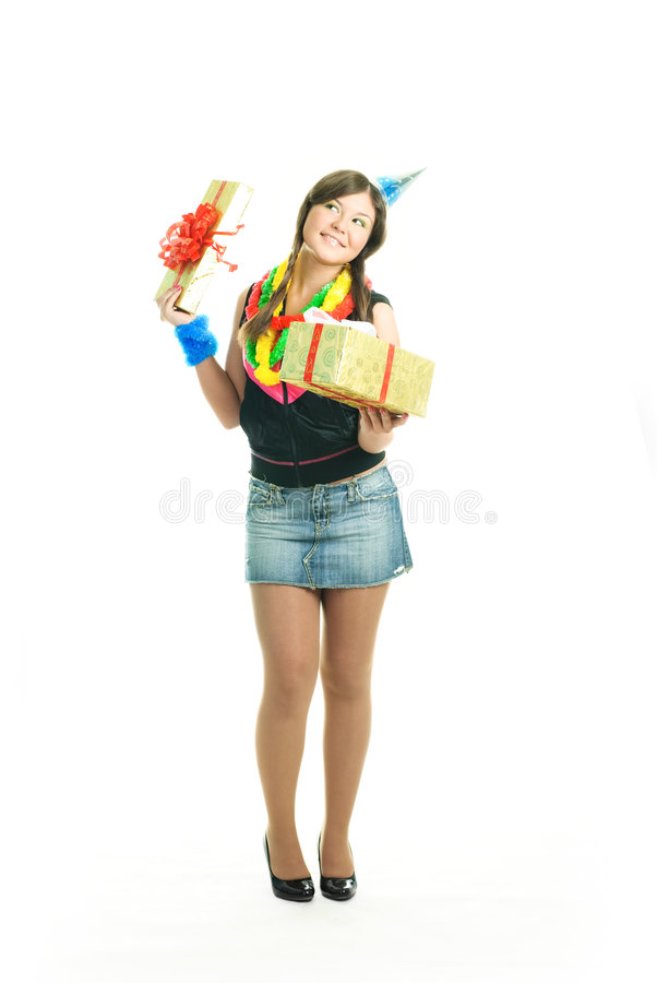 Download Happy girl with a present stock photo. Image of dreamy - 9218502