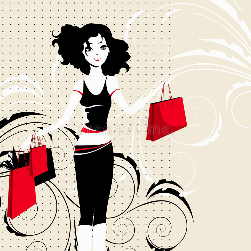 Download Happy Girl With Purchases Stock Photo - Image: 25843570