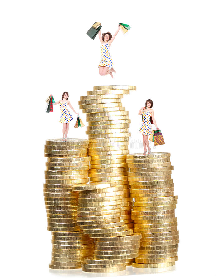 Download Happy girl with purchases stock image. Image of finance - 26507591