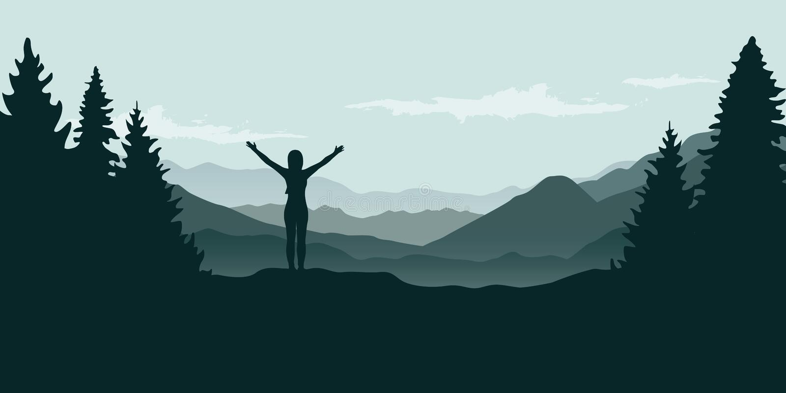 Happy girl with raised arms at beautiful green mountain and forest landscape royalty free illustration